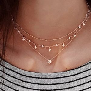 Boho Gold Tri Layer Necklace Pave Star